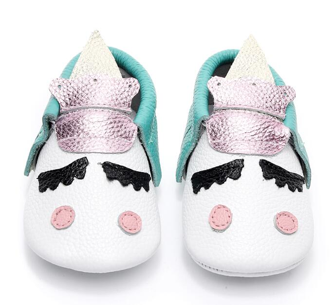 Unique style genuine leather newborn baby moccasins christmas gifts toddler party shoes Blush golden angle Unicorn Baby boot