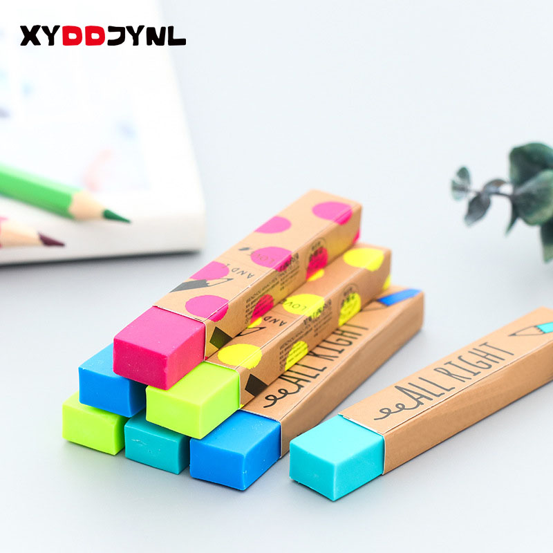 1pc Kawaii Stationery Rectangle 2B Pencil Rubber Eraser Student Prizes Gift Solid Color Soft Eraser School Supply