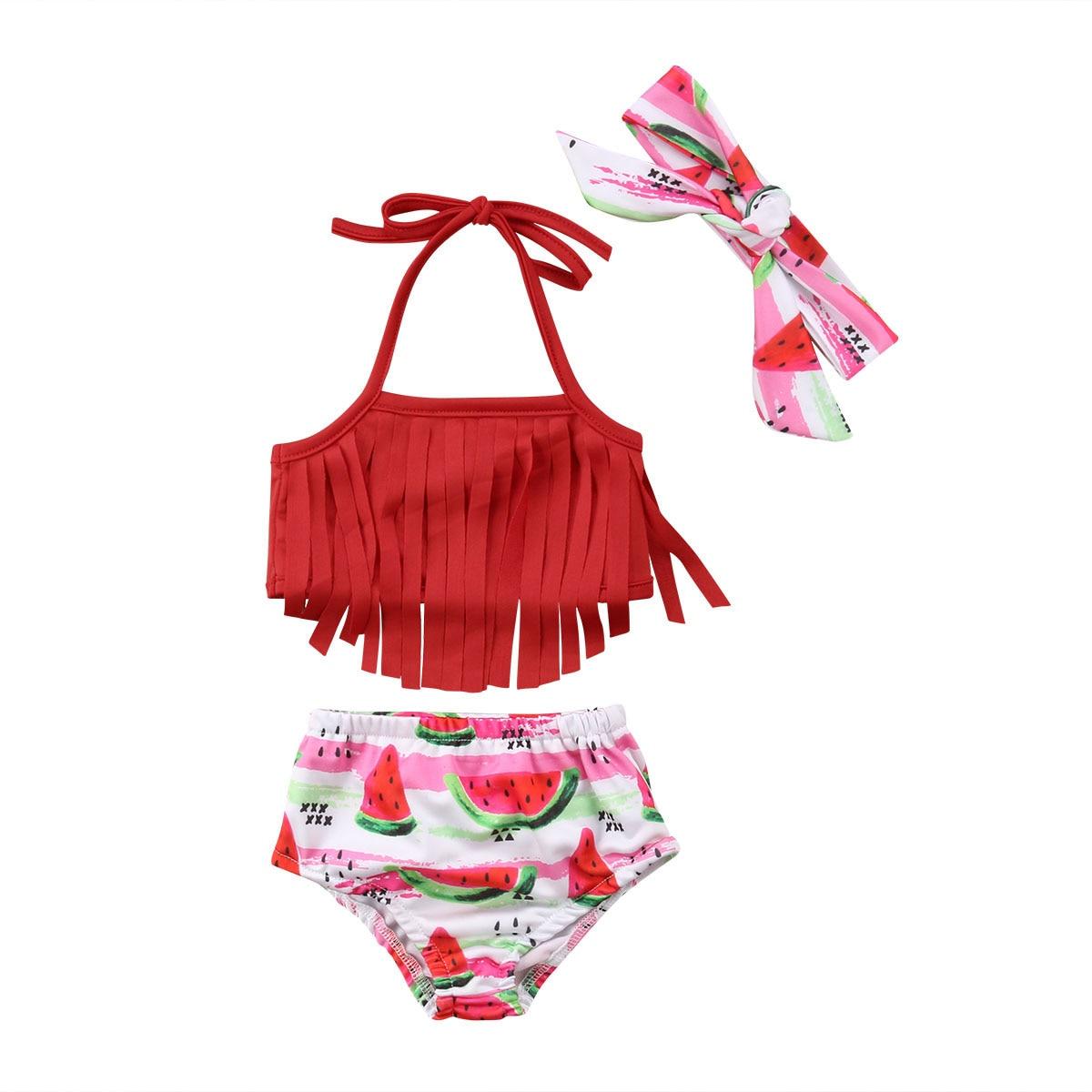 2018 Baby Girls Tassel Swimwear Set Newborn Girls Halter Crop Tops+Fruit Shorts 2pcs Bikini Swimsuit Bathing Suit