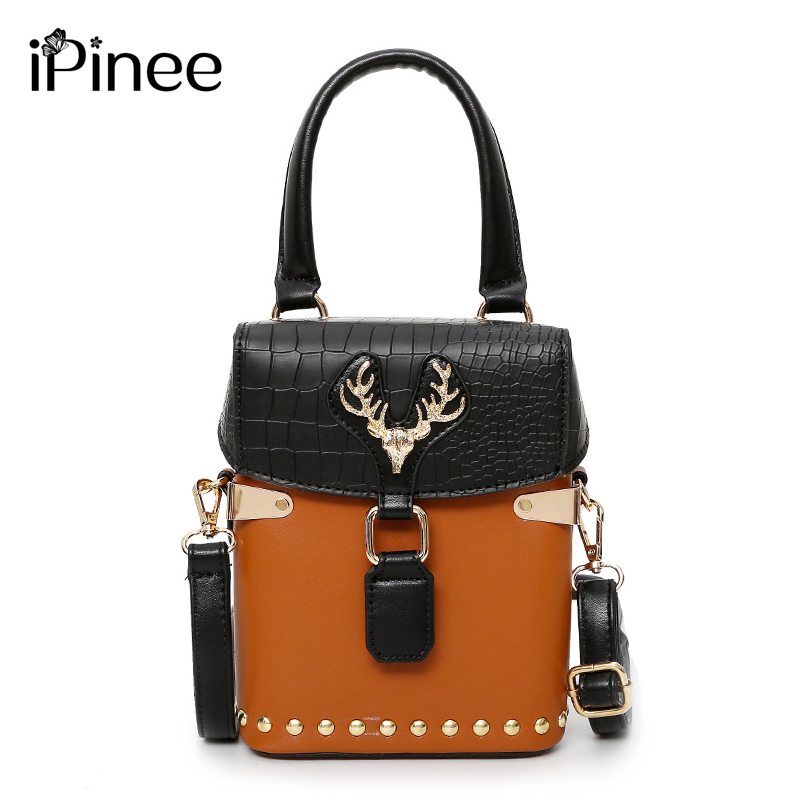 Woman Package 2018 Restore Ancient Ways Lock Catch Small Square Case Package Hit Color Handbag Fashion Rivet Single Satchel