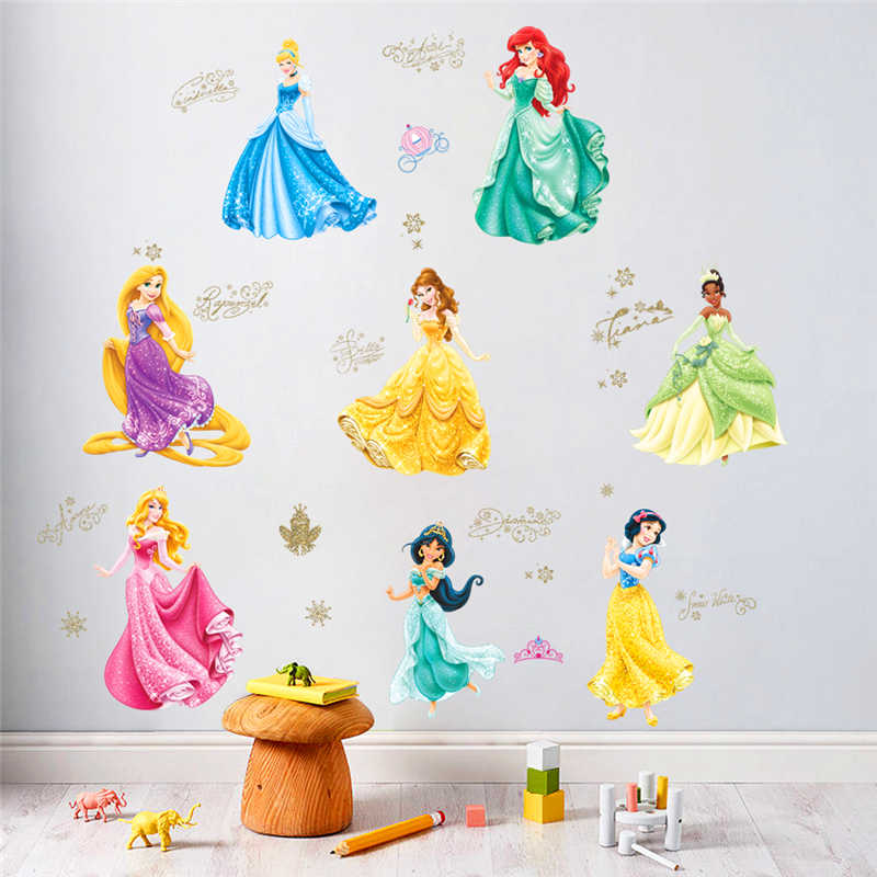 dancing princess castle wall stickers for kids room living room window cartoon height measure wall decals art diy birthday gift