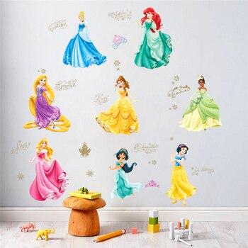 dancing princess castle wall stickers for kids room living room window cartoon height measure wall decals art diy birthday gift