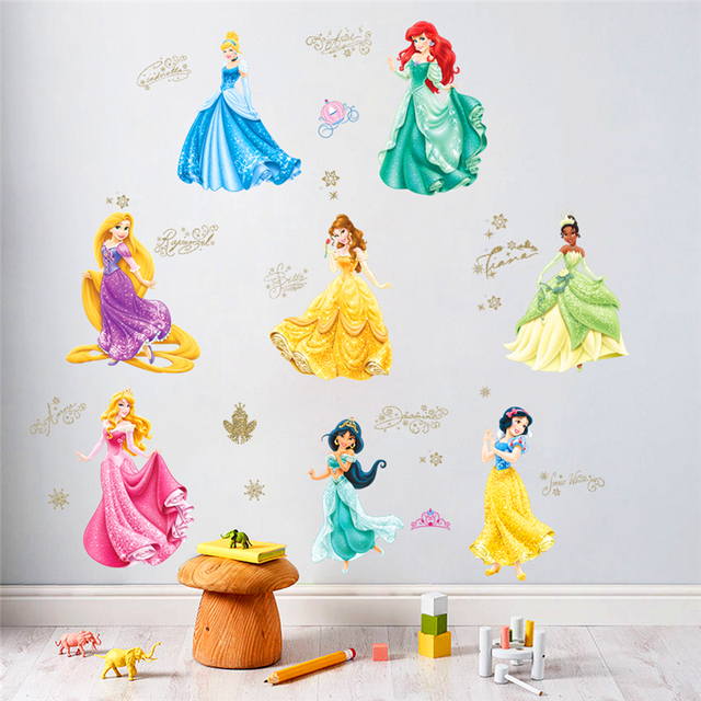 Dancing Princess Castle Wall Stickers For Kids Room Living Room Window  Cartoon Height Measure Wall Decals