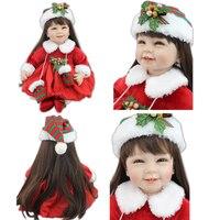 Скидка 55 см 22 дюймовый Reborn Baby Doll Милые силиконовые реалистичные Новорожденного кукла с соска для ребенка для девочек рождественские подарк