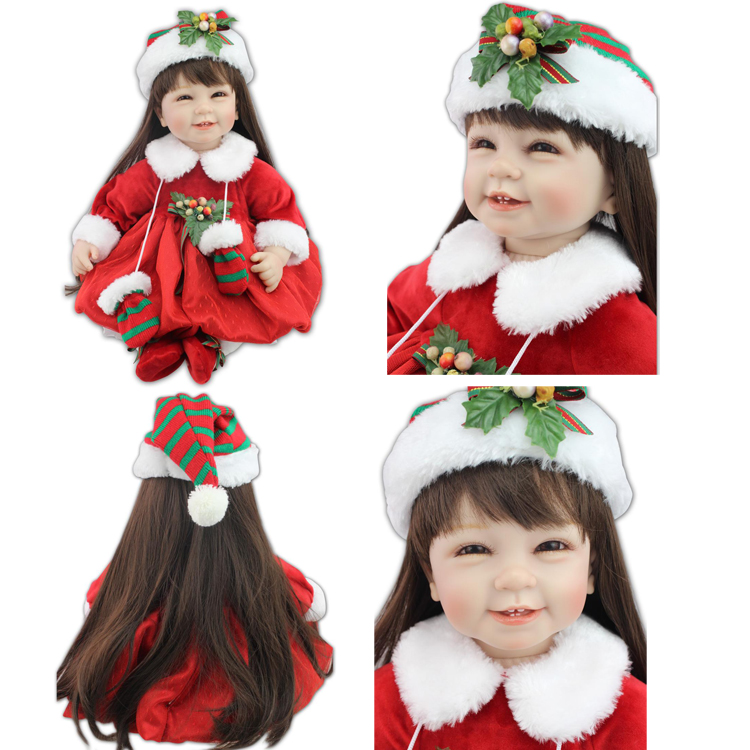 Low cost 55cm 22″ inch reborn child doll cute Silicone lifelike new born child doll with nipple for child woman Christmas Presents