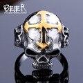 Beier nova loja anel aço inoxidável 316l top quality hot sale homens de esqueleto do estilo do punk anel de caveira moda jóias br8-140