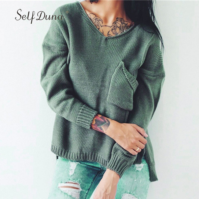1e2b918d17f38 Slef Duna 2019 Autumn Women Ripped Knitted Sweater Split Asymmetrical Green  White Pink Grey Hole Loose