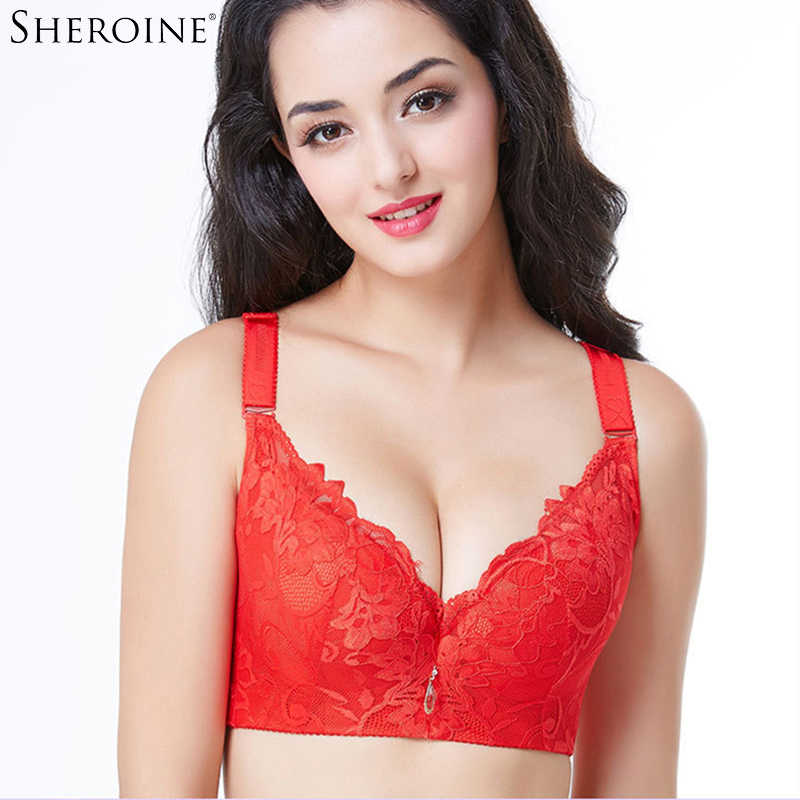adb9a8fa909dd SHEROINE Lace Floral Embroidery Bras Plus Size Push Up Underwire Bralette  Brassiere Plus Size Women s Bra