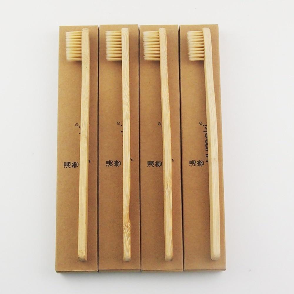 8 Шт. Бежевый Extra White Бамбука Зубная Щетка Древесины Новизна Бамбука мягкой щетиной Головчатого зубная щетка Bamboo Fibre Деревянной Ручкой