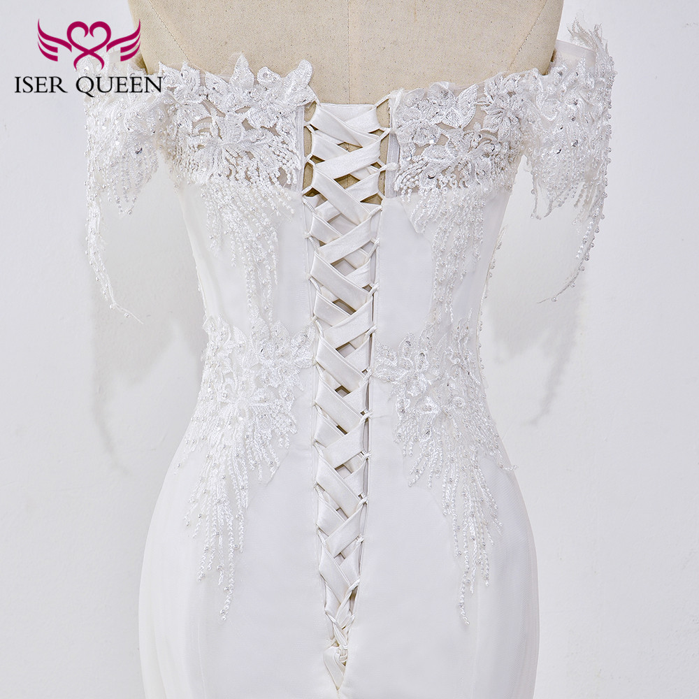 Pearl Appliques Court Train Lace Up Mermaid Wedding Dress 5