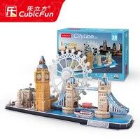candice guo! CubicFun 3D puzzle paper model assemble toy city line London Paris New York famous building scape birthday gift 1pc