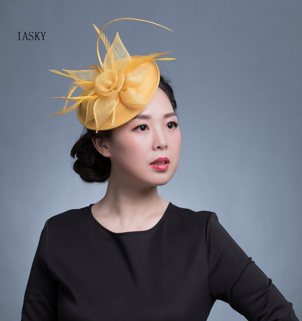 New Wedding Fascinator And Hat Women Golden Blue Feather Fascinator Headband  Fashion Party Kentucky Derby Proms Hair Accessories ba130d7a9c5f