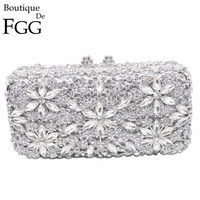 Socialite Metal Hard Case Ladies Clear Crystal Clutch Bags Evening Bags Women Hollow Out Wedding Party
