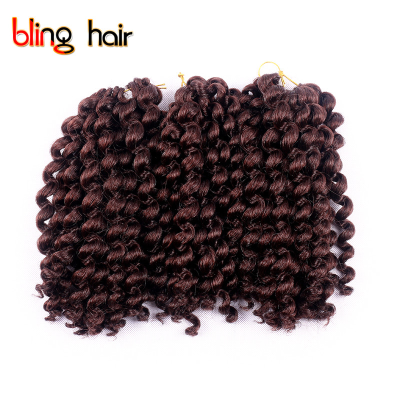 Bling Hair 10 Inches Synthetic Fiber Braiding Hair Extensions Jumpy Wand Curl Twist Crochet Braids Hair Products 80g/pcs