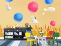 Personnalisé 3d peintures murales de papier peint, dessinés À La Main de bande dessinée lapin blanc papier peint. salon canapé TV mur chambre enfants papel de parede