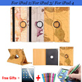 Retro World Map Pattern Cover for iPad 2 Case 360 Rotating Cover for iPad 3 Case with Stand Holder Cases for iPad 4 9.7 inch