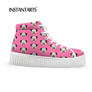 INSTANTARTS Platform Flats Shoes Women Cute Cartoon Pug Dogs Pattern Height Increasing Girls Sneakers Lace Up Cotton Shoes Women