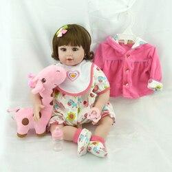 Npk 20 silicone bonecas do bebê com brinquedo de pelúcia girafa realista reborn boneca presente de aniversário natal para meninas bebe reborn boneca