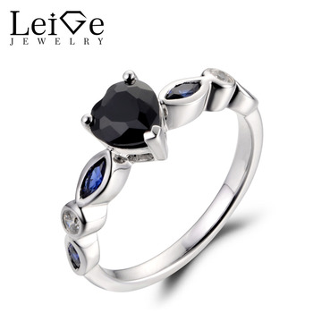 LeiGe Jewelry Natural Black Spinel Rings Unique Wedding Rings Heart Shape Black Gemstone 925 Sterling Silver Romantic Gifts