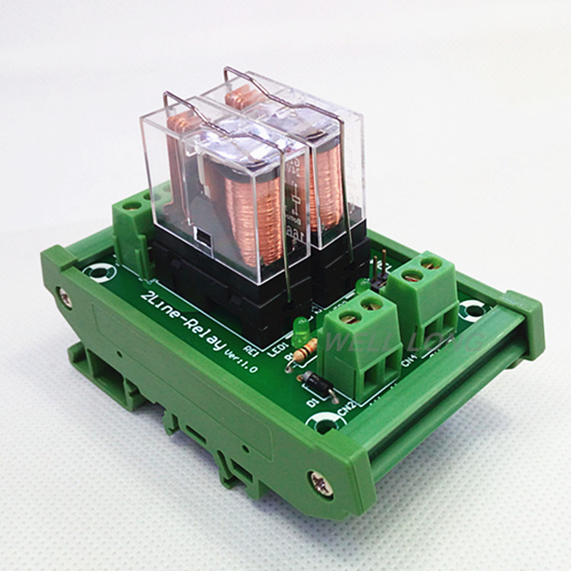 цена на DIN Rail Mount 2 SPDT 16A Power Relay Interface Module,OMRON G2R-1-E DC24V Relay.