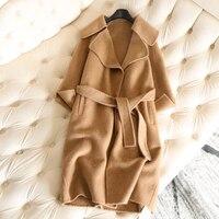 Мода 2018 Для женщин зимние кашемировое пальто длинные Для женщин шерстяное пальто одноцветное большой v образным вырезом повседневная женск