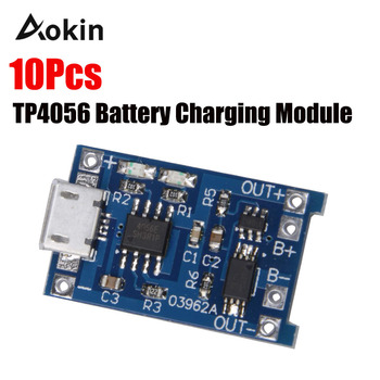 10Pcs TP4056 5V 1A Micro USB 18650 Lithium Battery Charging Board Charger Module Protection Dual Functions for arduino Diy Kit 5pcs 5v 1a micro usb 18650 lithium battery charging board charger module protection dual functions