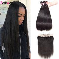 Brazilian Straight Hair Bundles With Frontal Human Hair Weave Bundles With 13x4 Closure Virgin Hair 3 Bundles With Lace Frontal