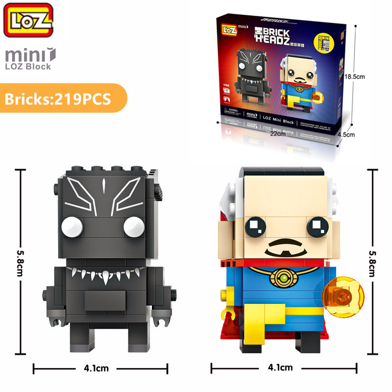 LOZ 219pcs DIY Assembly Model Bricks Blocks Loz Mini Action Figure Marvel Doctor Strange Black Panther For Kids Gift Toys 2 In 1