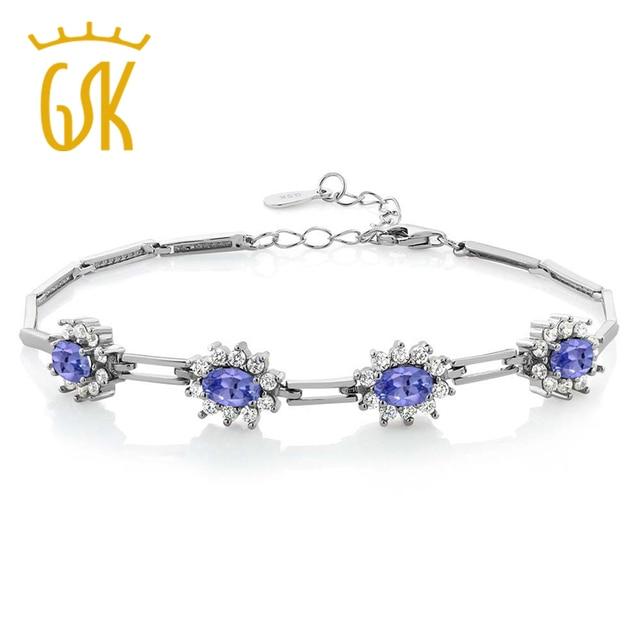 GemStoneKing 3.80 Ct Oval Luxo Princesa Diana Azul Tanzanite Prata Esterlina 925 Pulseira Festa de Jóias Para As Mulheres