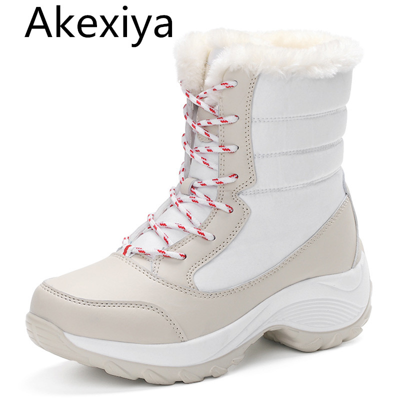 Akexiya women snow boots winter warm boots thick bottom platform waterproof ankle boots  thick fur cotton shoes size 35-41