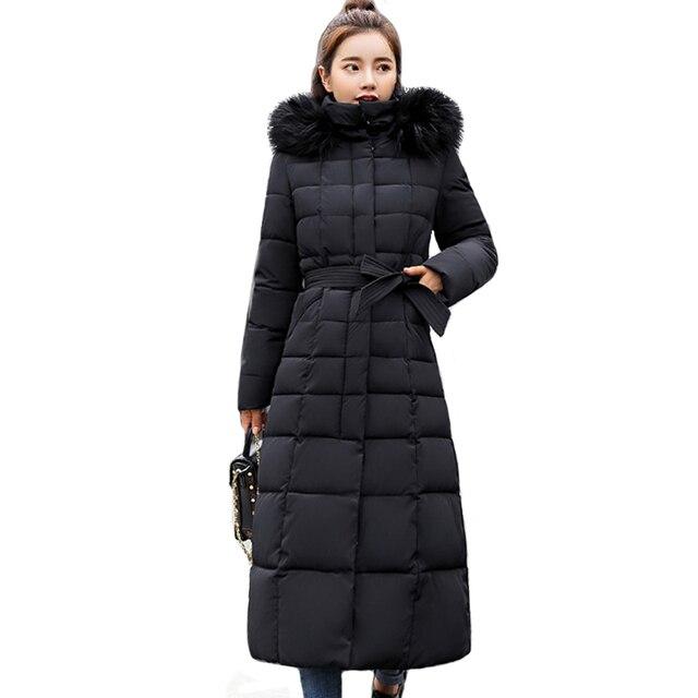 2019 высокое качество меховой воротник для женщин длинное зимнее пальто Женская Теплая стеганая куртка S Верхняя одежда парка casaco feminino inverno