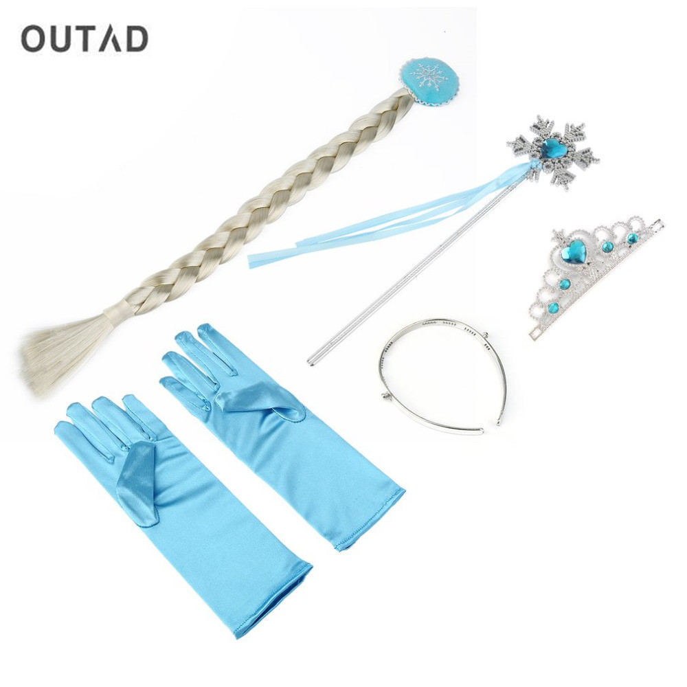 OUTAD 4Pcs/set Princess Elsa Anna Accessory Hair Accessories Crown Wig Magic Wand Glove Party Toys for Girls Birthday Xmas Gift стоимость