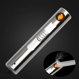 Image 1 - New USB Rechargeable Flashlight Electronic lighter Cigarette Turbo LED Light Lighter Encendedor Cigar Palsma Pulse Outdoor tools