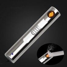 Nowy USB ładowalna latarka elektroniczna zapalniczka papieros Turbo światła LED zapalniczki Encendedor cygaro Palsma Pulse na zewnątrz narzędzia