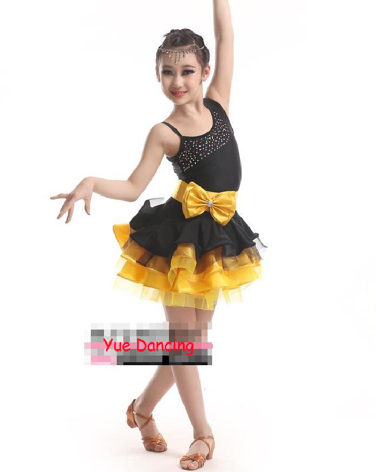 Black Diamond Sexy Dress Girl Kids Costume Salsa Clothes Red/Green/Yellow Stage Performance Dance Wear Ballroom Dancing Clothing