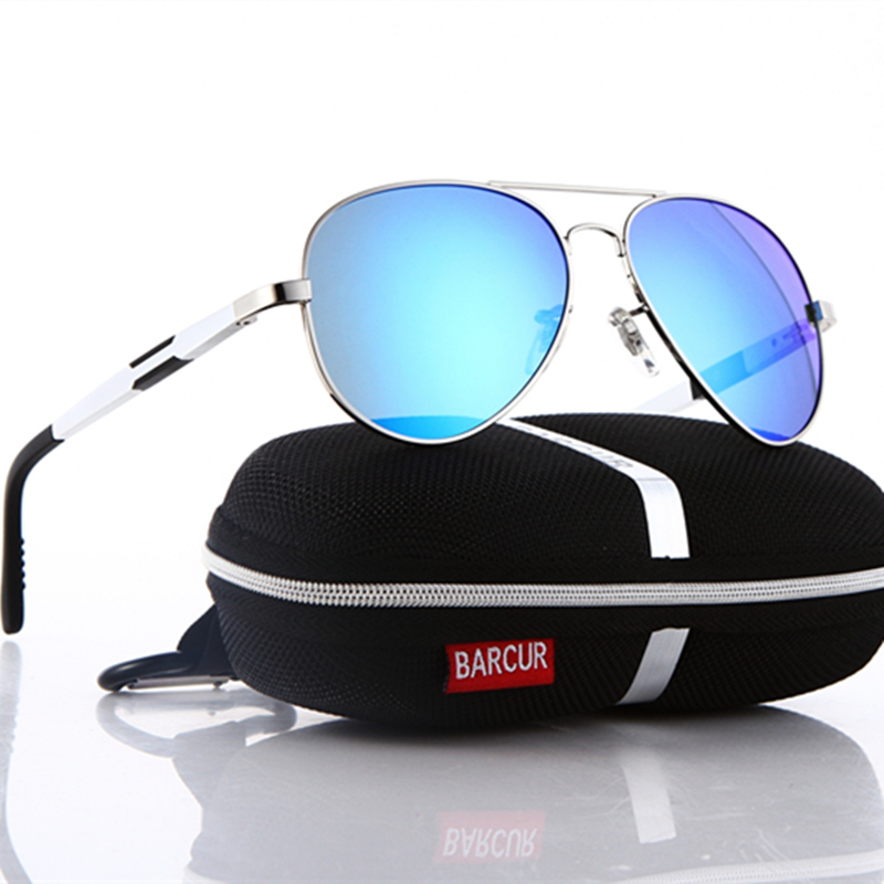 BARCUR Aluminum Magnesium Polarized Sunglasses Men Driving Mirror Sun Glasses Male Oculos