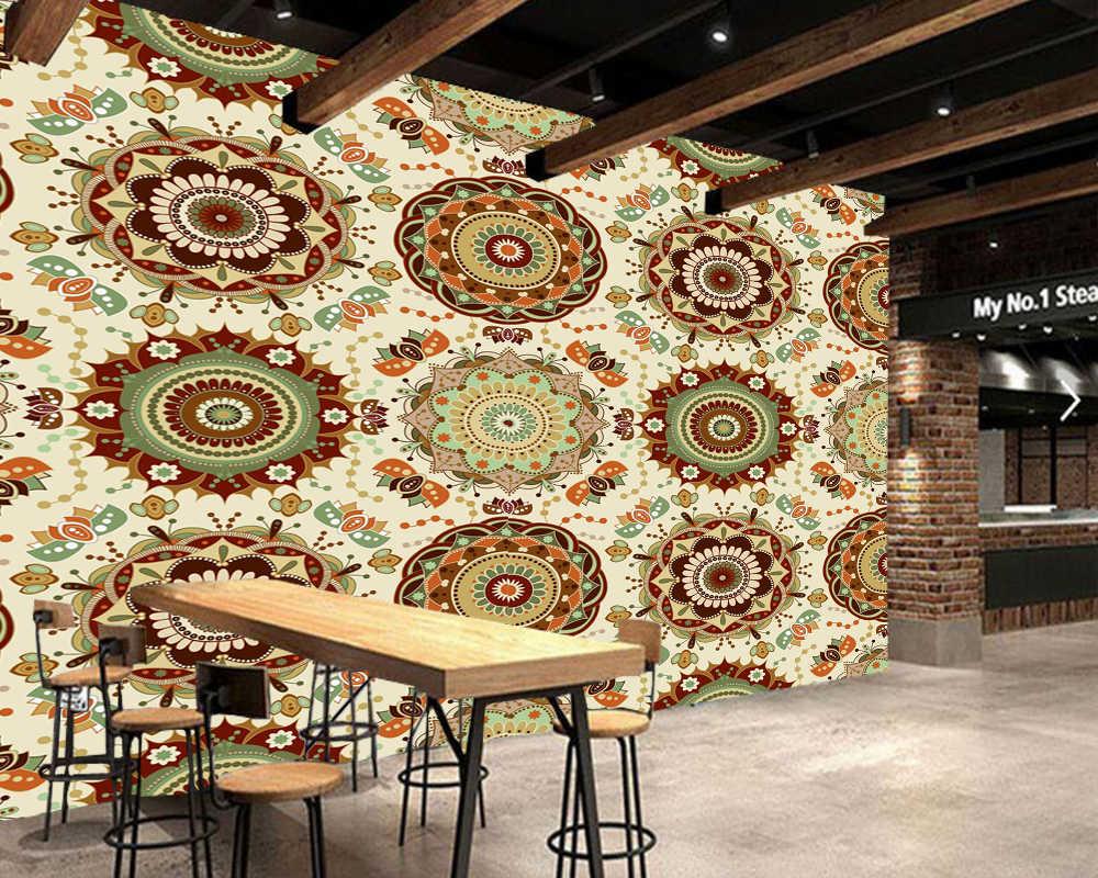Kustom bunga wallpaper, india gaya etnik fresco untuk bar KTV restoran ruang langit-langit latar belakang home decor wallpaper