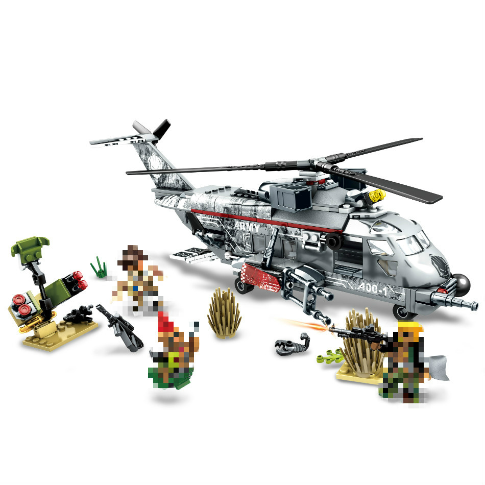 купить NEW MODEL 340pcs Military Helicopter Special Forces War Building Blocks Set Army Soldiers Figures Bricks Toy for LEPINS Children недорого