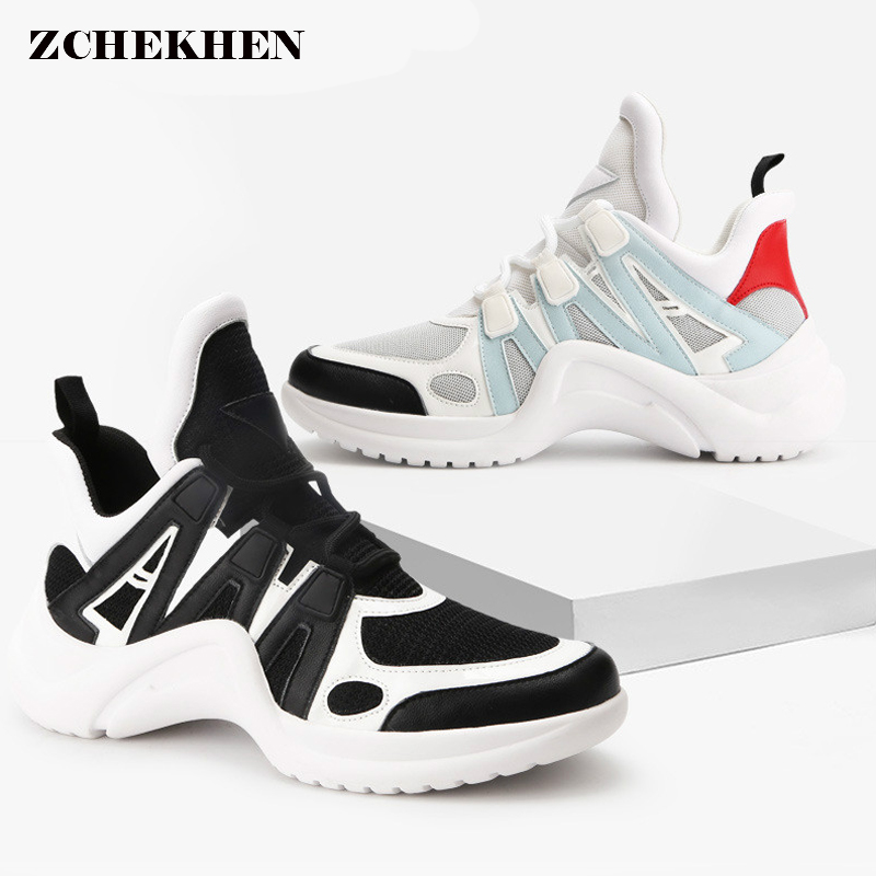 Fashion chunky Sneakers Runway Mixed Colors V Design Sole shoes Round Toe Leisure Shoes mesh Patchwork Dad Shoes пуф patchwork colors