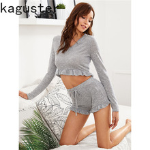Women Sets Casual Suit Two Piece Top and Shorts Solid Long Sleeve V Neck  Crop Top  Outfit Female Summer Leisure Wear