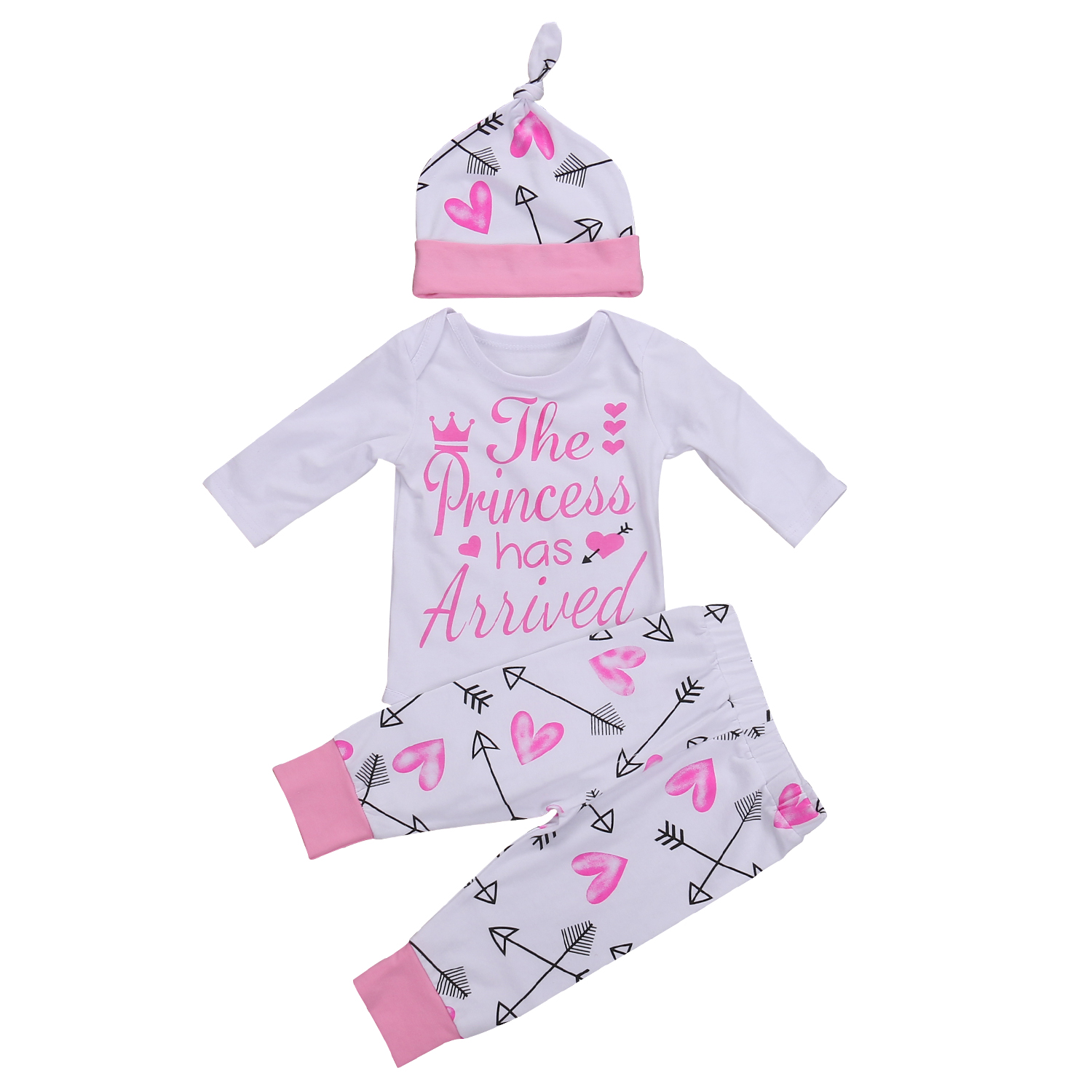 Autumn Toddler Newborn Baby Girls Clothes Letter Print Romper Jumpsuit+Long Pants Hat Outfit Cute Cotton Clothing 3pcs 0-24M 3pcs set newborn girls christmas clothes set warm hat letter print romper love arrow print pants leisure toddler baby outfit set