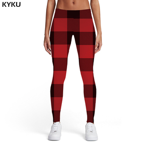 KYKU Stripes Leggings Women Plaid Elastic Square Printed pants Red Sport Geometric Leggins Womens Leggings Pants Fitness Fashion