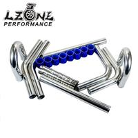 LZONE 2.25' '57mm TURBO INTERCOOLER PIPE 2.25 L=600MM CHROME ALUMINUM PIPING PIPE TUBE+T CLAMP+ SILICONE HOSES BLUE JR1717