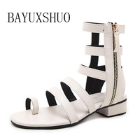 BAYUXSHUO Women Sandals Chinese Wind Embroidery Flowers Ankle Strap High Heeled Square Heel Embroidery Shoes Woman