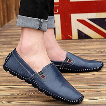 Men's Comfortable Cool Faux Leather Fashion Slip-On Flat casual shoes