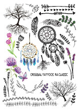 Multi-style Fashion Cool Temporary Tattoo With Tree And Dreamcatchers 21x15cm