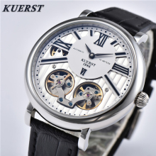 KUERST Mens Watches Men's Skeleton Tourbillon Automatic Mechanical Watch Business Casual Mechanical Wrist Watch Top Luxury Brand цена и фото