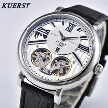 цена KUERST Mens Watches Men's Skeleton Tourbillon Automatic Mechanical Watch Business Casual Mechanical Wrist Watch Top Luxury Brand онлайн в 2017 году