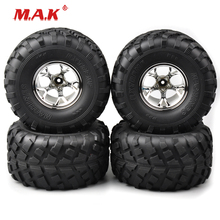 3004 Rubber Tires and Wheel Rims with 12mm Hex fit 1:10 Scale RC Monster Bigfoot Car Model Parts and Accessories 4 pieces 150mm rubber rc 1 8 monster truck tires bigfoot