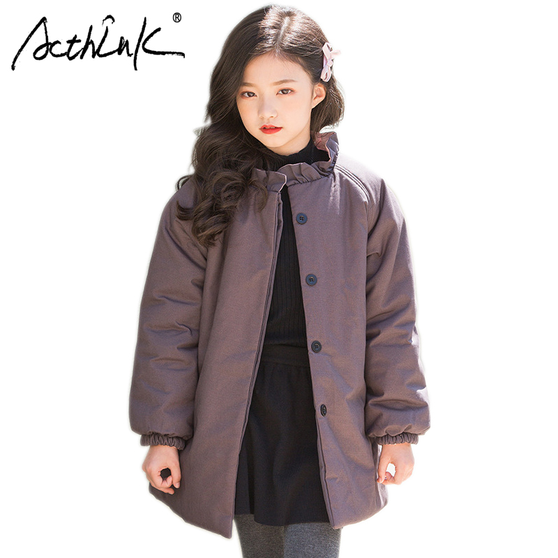 ActhInK Kids Winter Cotton-Padded Clothes Girls Winter Warm Coat Girls Long Type Windproof Outdoor Jacket Coat Kids Winter Coat free shipping 2017 winter in the new dress suits brought long cotton padded clothes woman coat quilted jacket s 3xl